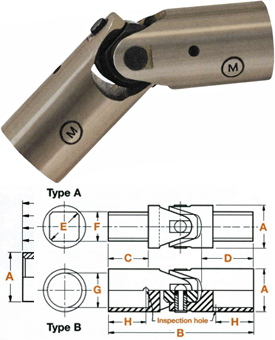 MS-20270-B8 Apex Universal Joint, Light Duty, Bored Hub