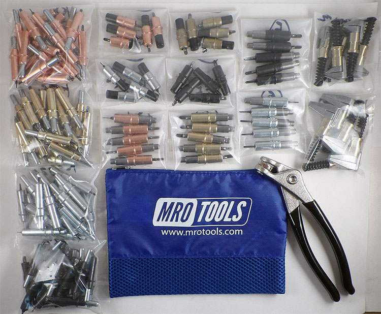 K1S50-3//16 50 3//16 Cleco Sheet Metal Fasteners Plus Cleco Pliers w//Carry Bag