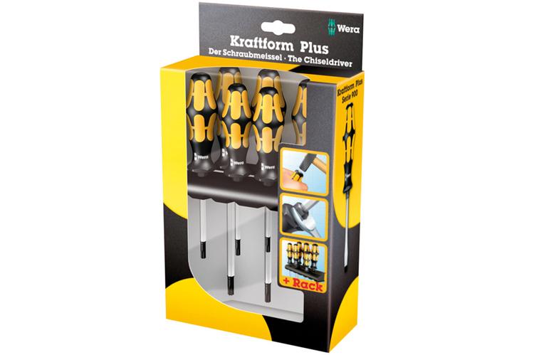 Wera 05024410001 Kraftform Plus 977//6 Torx Screwdriver Set and Rack 6-Piece