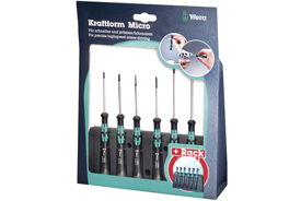 05118156001 Wera 2052/6 6 Piece Kraftform Micro Hexagon Screwdriver Set